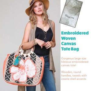 Embroidered Woven Canvas Tote Bag